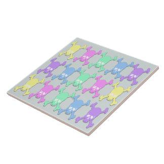 Pastel Skull Pattern Tile/Trivet Large Square Tile