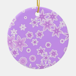Pastel snowflakes against lavender christmas tree ornament