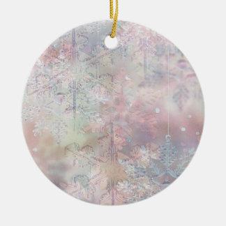 Pastel Snowflakes Round Ceramic Decoration