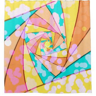 Pastel Spiral Fractal Shower Curtain