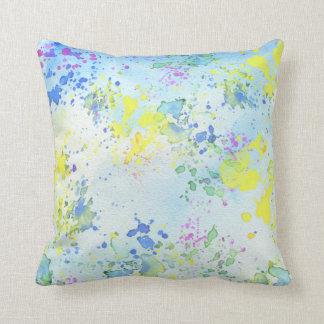 Pastel Splatter Paint Throw Cushion