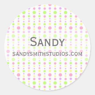 Pastel Spring Dotted Background Round Sticker