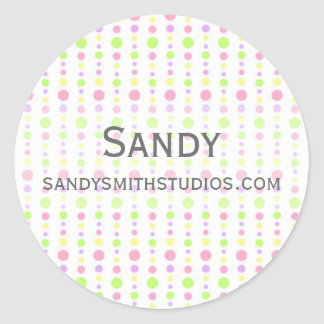 Pastel Spring Dotted Background Round Stickers