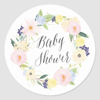 Pastel Spring Floral Wreath Baby Shower Stamp Classic Round Sticker