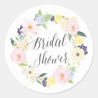 Pastel Spring Floral Wreath Bridal Shower Stamp Round Sticker
