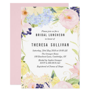 Pastel Spring Flowers Bridal Luncheon Invitation