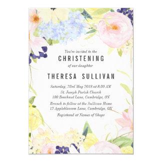 Pastel Spring Flowers Christening Invitation