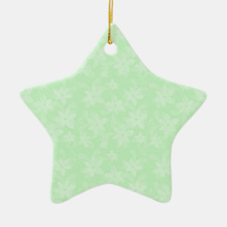 Pastel Spring Green Flowers Pattern Christmas Ornaments