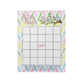 Pastel Squirrel Baby Girl Shower - Bingo Game Notepad