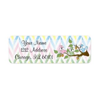 Pastel Squirrel Baby Girl Shower Return Address Label