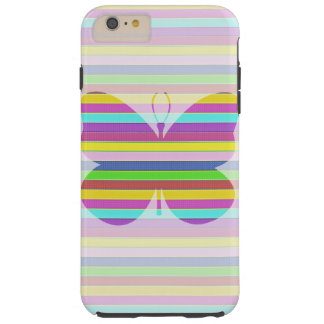 Pastel Stripe Butterfly Pattern Tough iPhone 6 Plus Case