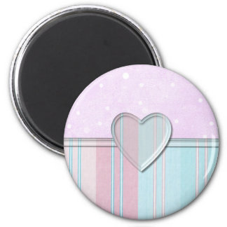 Pastel Stripe Heart 6 Cm Round Magnet