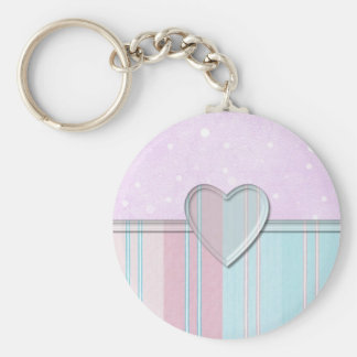 Pastel Stripe Heart Basic Round Button Key Ring