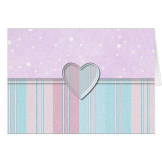 Pastel Stripe Heart Greeting Card