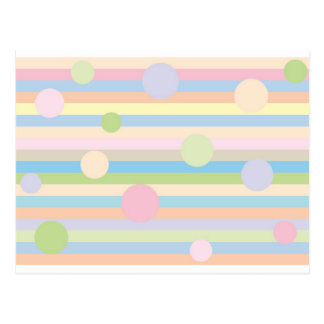 Pastel Stripes and Dots Postcard