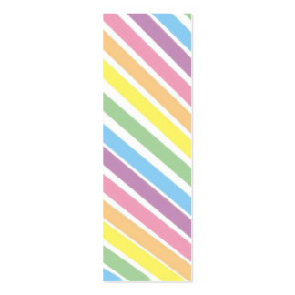 Pastel Stripes  Bookmark Double-Sided Mini Business Cards (Pack Of 20)