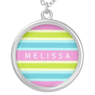 Pastel Stripes custom name necklace