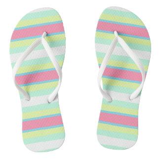 Pastel stripes flip flops