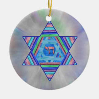 Pastel Stripes Hanukkah Star Ornament