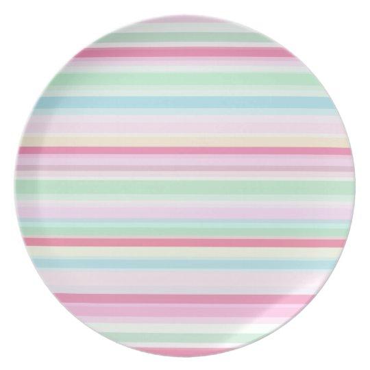 Pastel Stripes Pattern Melamine Plate