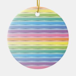 Pastel Stripes Round Ceramic Decoration