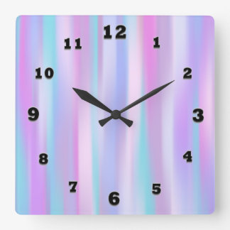 Pastel Stripes Square Wall Clock