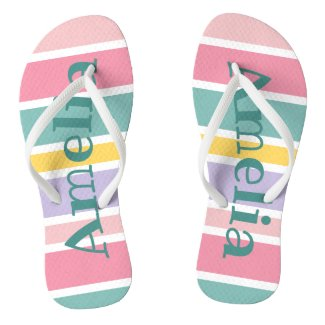 Pastel Summer Stripes Customizable Name Flip Flops