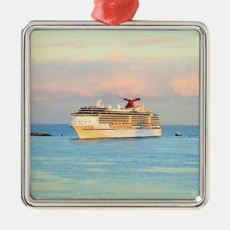 Pastel Sunrise with Cruise Ship Christmas Ornament