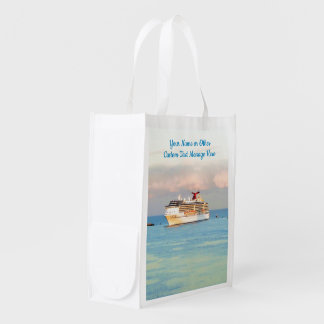 Pastel Sunrise with Cruise Ship Custom Reusable Grocery Bag