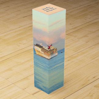 Pastel Sunrise with Cruise Ship Custom Wine Box