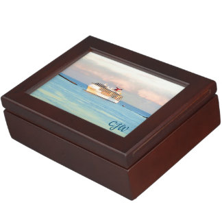 Pastel Sunrise with Cruise Ship Monogrammed Keepsake Box