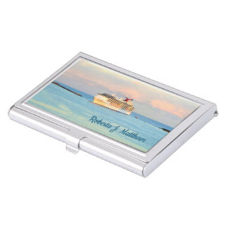 Pastel Sunrise with Cruise Ship Personalized Business Card Holder