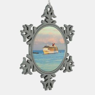 Pastel Sunrise with Cruise Ship Snowflake Pewter Christmas Ornament