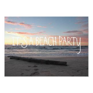 Pastel Sunset on Lake Michigan Shoreline Ocean 13 Cm X 18 Cm Invitation Card