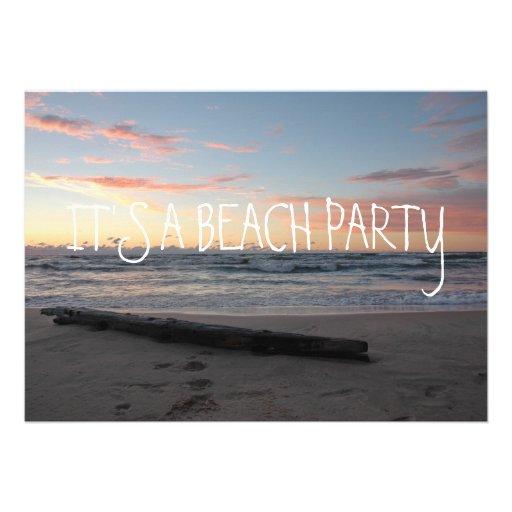 Pastel Sunset on Lake Michigan Shoreline Ocean Invitations