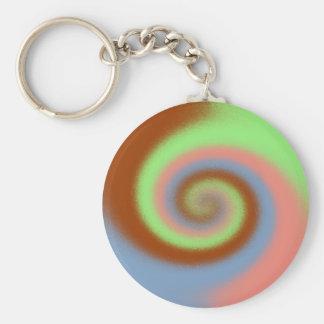 Pastel Swirl Pattern Basic Round Button Key Ring