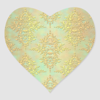 Pastel Teal and Gold Aurora Antiqued Damask Heart Sticker