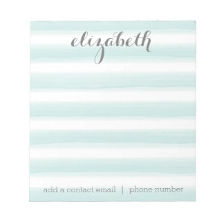 Pastel Teal and Gray Stationery Suite for Women Notepad
