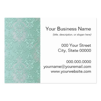 Pastel Teal Blue Green Damask Business Card Templates