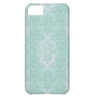 Pastel Teal Blue Green Damask iPhone 5C Cases