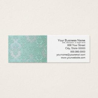 Pastel Teal Blue Green Damask Mini Business Card