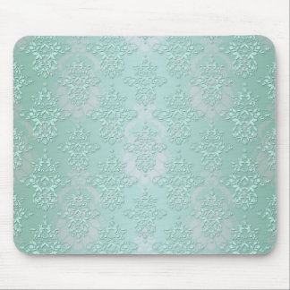Pastel Teal Blue Green Damask Mouse Pad