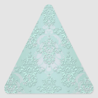 Pastel Teal Blue Green Damask Triangle Sticker
