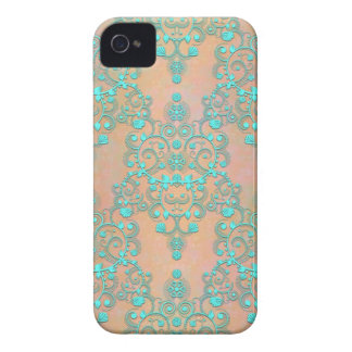 Pastel Teal over Peachy Gold Fancy Damask Case-Mate iPhone 4 Case