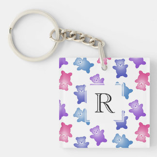 Pastel Teddy Bear Pattern Double-Sided Square Acrylic Key Ring