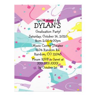 Pastel theme graduation party flyer invitations