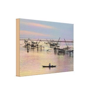 Pastel Tones Fisherman Landscape Stretched Canvas Print