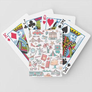 Pastel Tourist Pattern Bicycle Playing Cards
