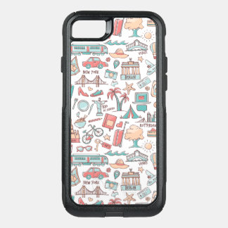 Pastel Tourist Pattern OtterBox Commuter iPhone 8/7 Case