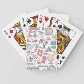 Pastel Tourist Pattern Playing Cards